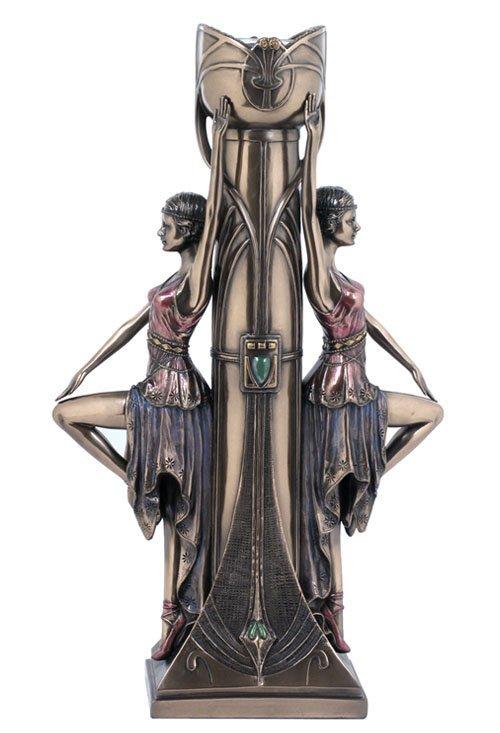ART DECO LADIES CANDLE HOLDER - BRONZE
