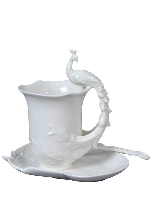 PEACOCK COFFEE CUP SET WITH SPOON(WHITE)