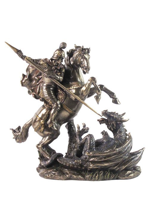 ST. GEORGE ON HORSE SLAYING DRAGON  - BRONZE