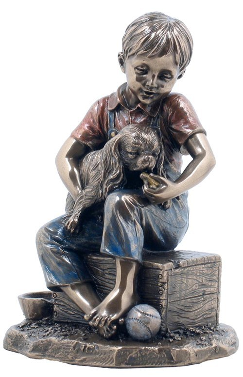 BOY FEEDING DOG - BRONZE
