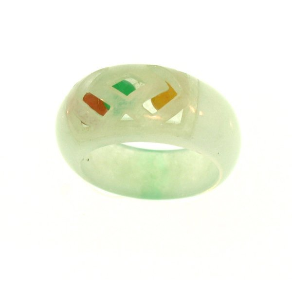 NATURAL GREEN WATER MIX JADE RING