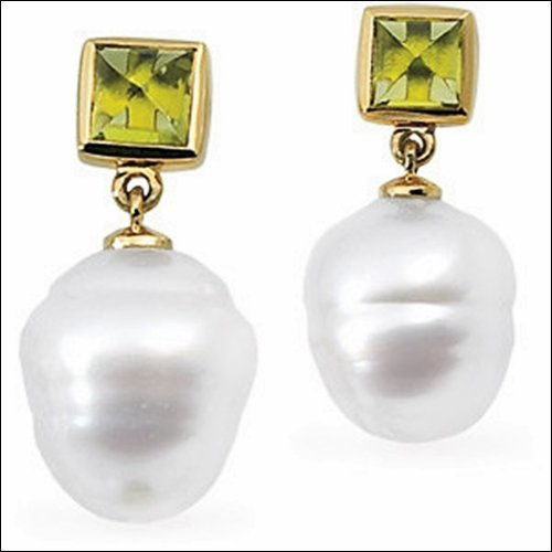 SOUTH SEA CULTURED PEARL & GENUINE PERIODOT EARRINGS