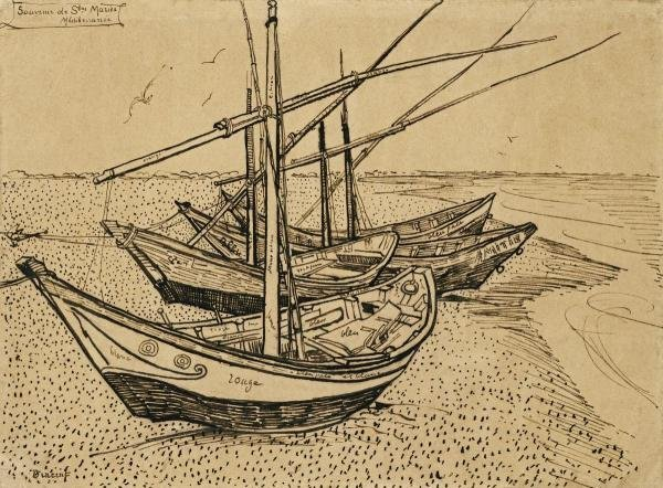VINCENT VAN GOGH - BOATS ON THE BEACH AT