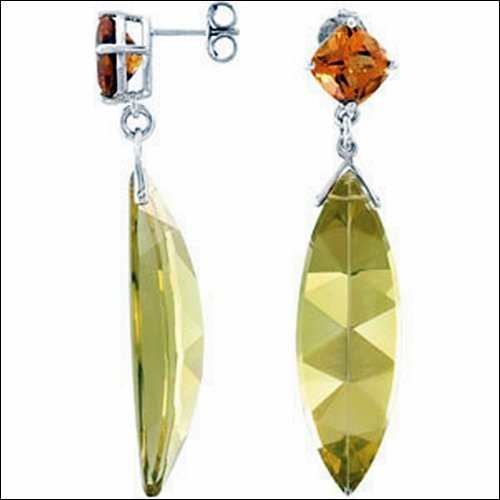 GENUINE LIME QUARTZ & CITRINE EARRINGS