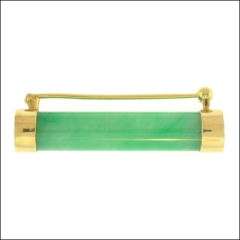 NATURAL GREEN JADE PIN