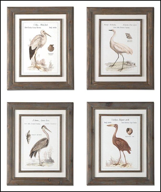 BIRDS OF THE SHORE FRAMED ART, S/4