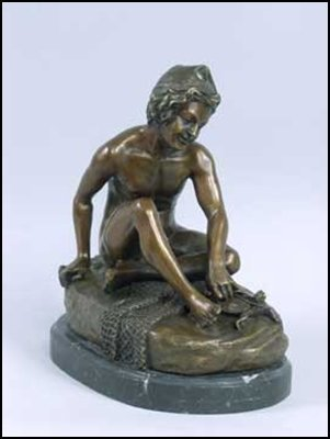 LOST WAX BRONZE BOY WITH TURTLE