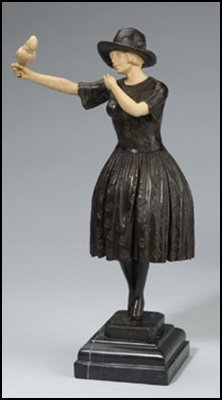 LOST WAX BRONZE GIRL WITH PARROT