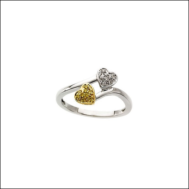 .08 CT TW NATURAL YELLOW & WHITE DIAMONDS HEART RING
