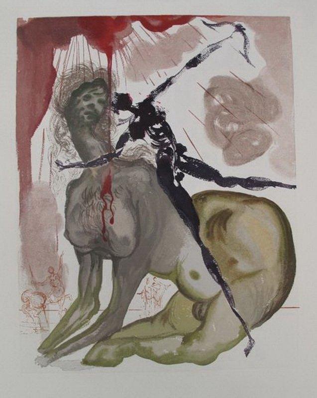 Salvador Dali DIVINE COMEDY INFERNO #12 Color Woodcut