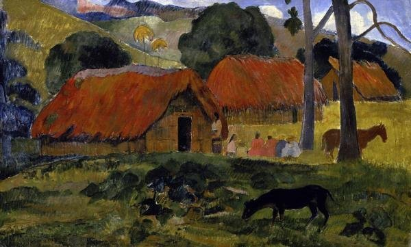 PAUL GAUGUIN - DOG CANINE IN FRONT OF THE HUT (LE CHIEN