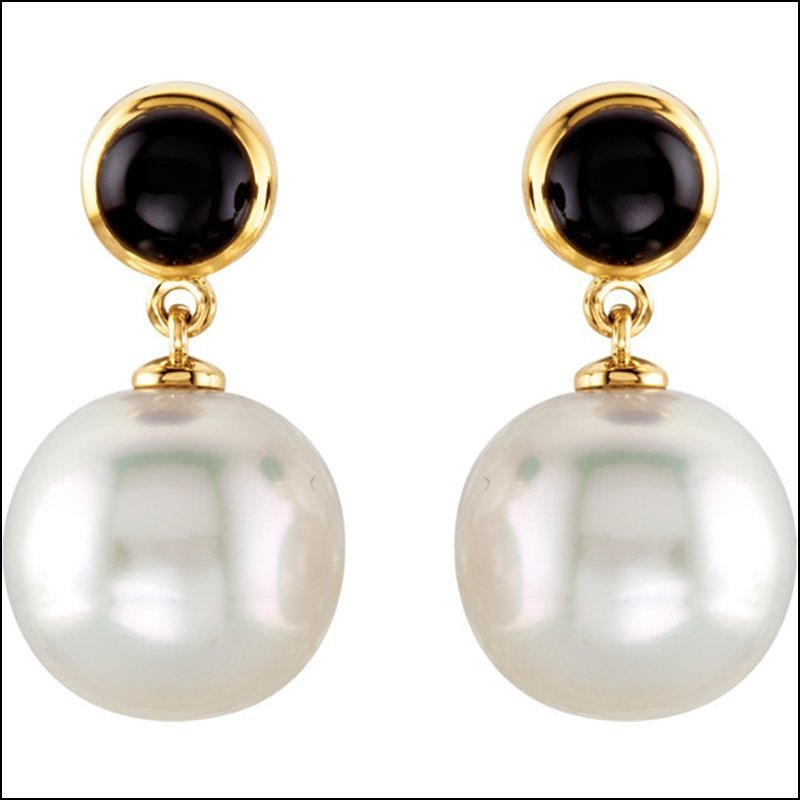 SOUTH SEA CULTURED PEARL AND ONYX EARRINGS
