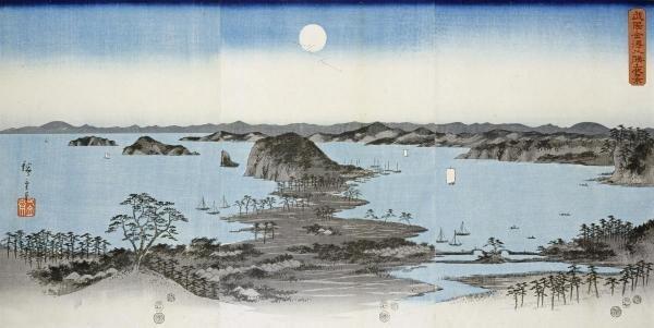 HIROSHIGE - NIGHT VIEW OF KANAZAWA IN MUSASHI PROVINCE