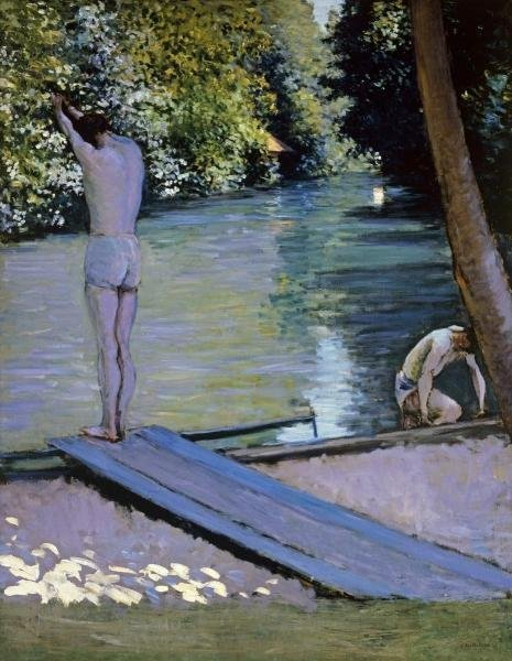 GUSTAVE CAILLEBOTTE - BATHER ABOUT TO PLUNGE INTO THE