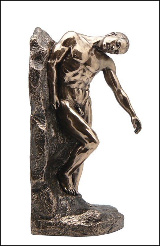 BOOKEND NUDE MALE LEANING ON ROCK - BRONZE