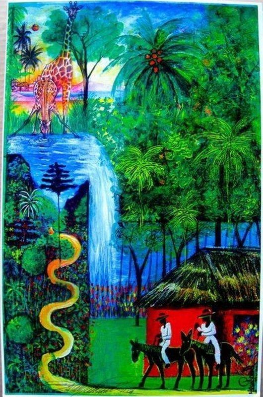 Jean Paul Haitian Art WATERFALL Hand Signed Limited Ed.