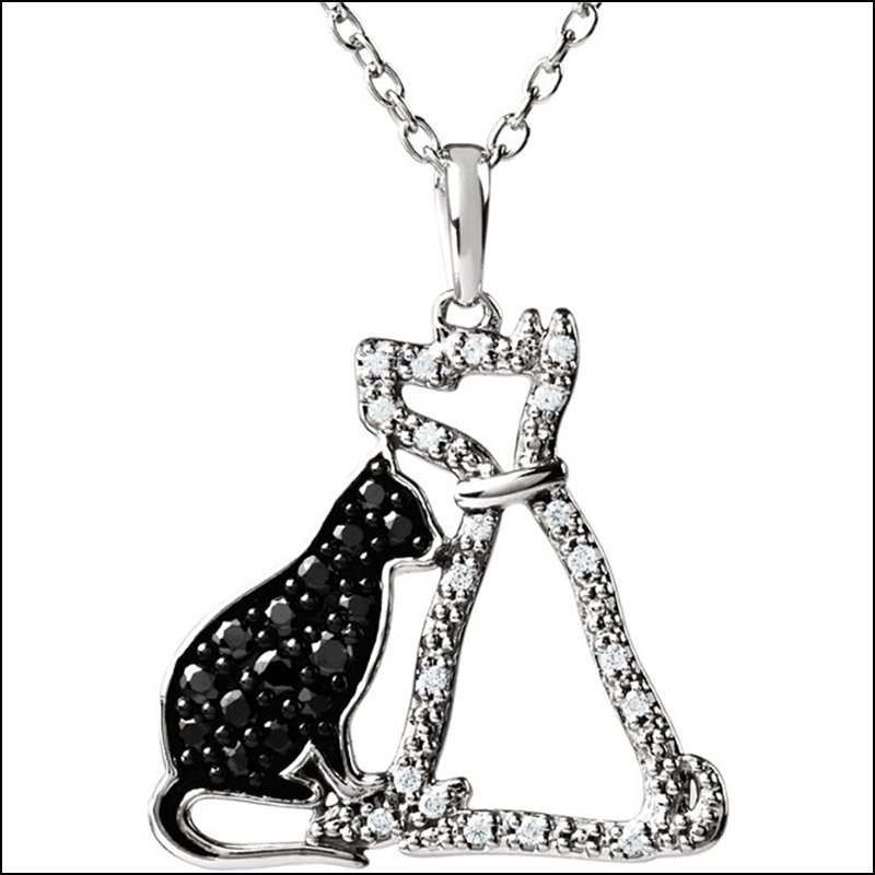 TENDER VOICES CAT & DOG SILHOUETTE NECKLACE