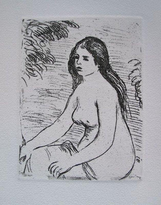 Pierre-Auguste Renoir SEATED NUDE Restrike Etching