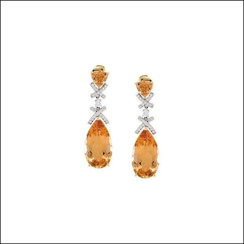 GENUINE PRECIOUS TOPAZ AND DIAMOND EARRINGS