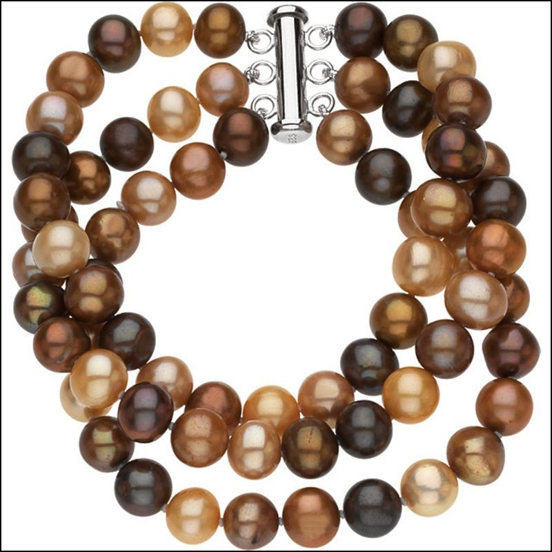 FRESHWATER DYED CHOCOLATE CULTURED PEARL TRIPLE STRAND