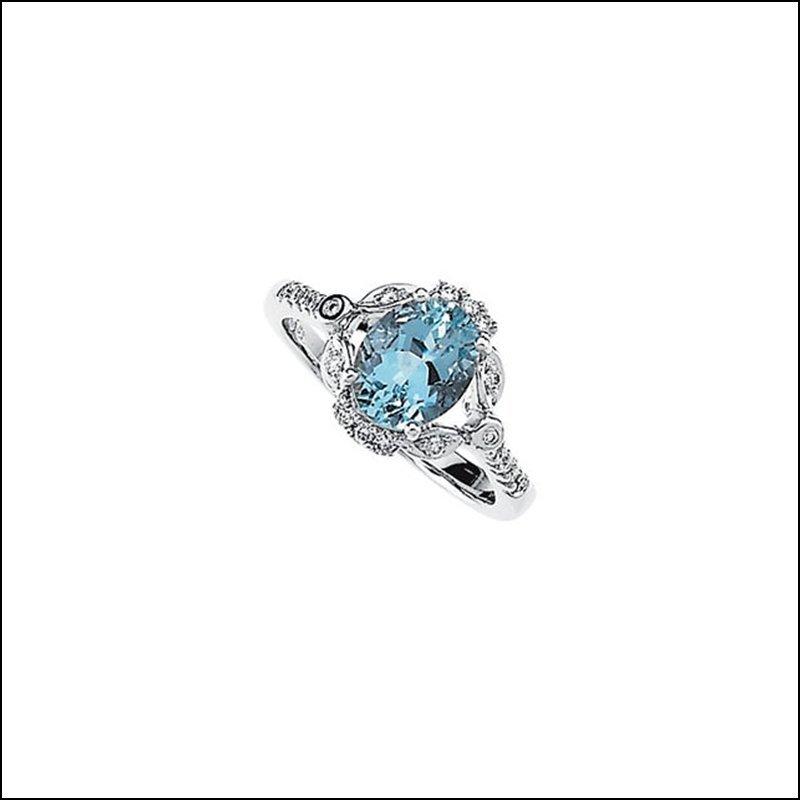 GENUINE AQUAMARINE & DIAMOND RING