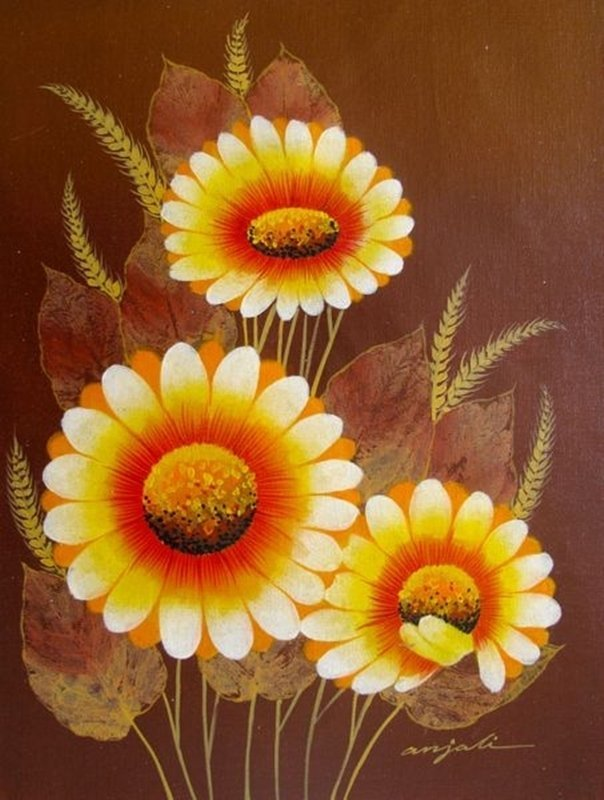 WILD FLOWERS Signed Original Oil Painting on Canvas