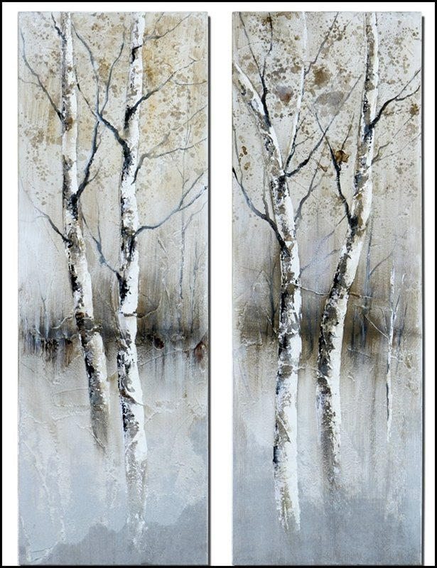 BIRCH TREE PANEL ART SET/2