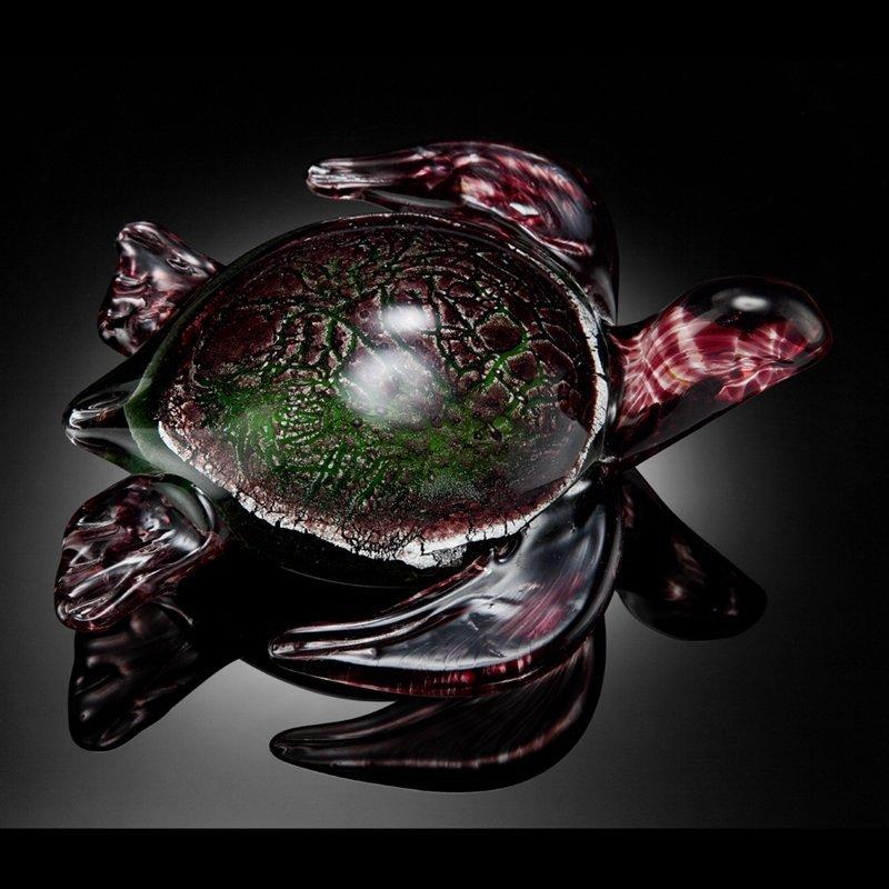 ART GLASS SWIMMING SEA TURTLE