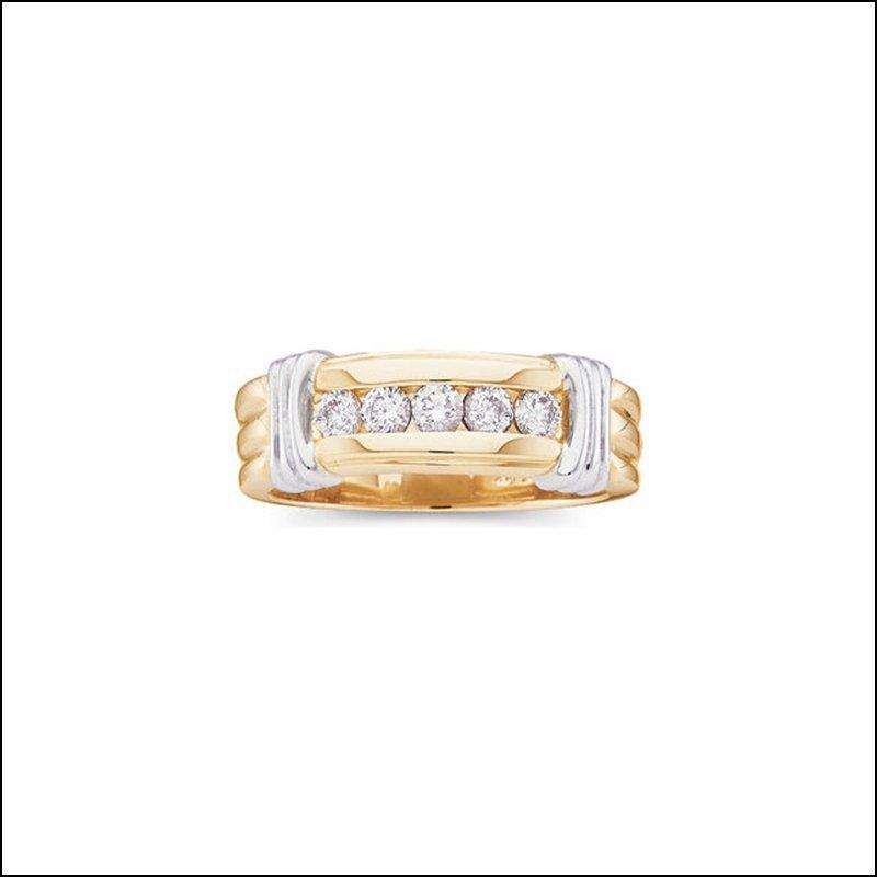 1/2 CT TW GENTS TWO TONE DIAMOND RING
