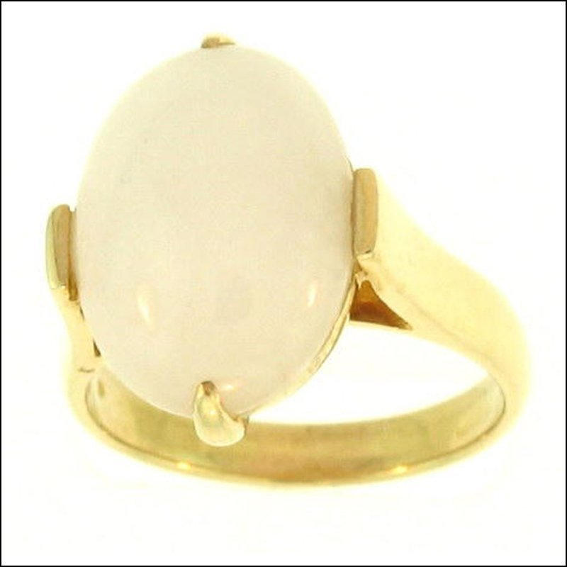 NATURAL WHITE JADE RING