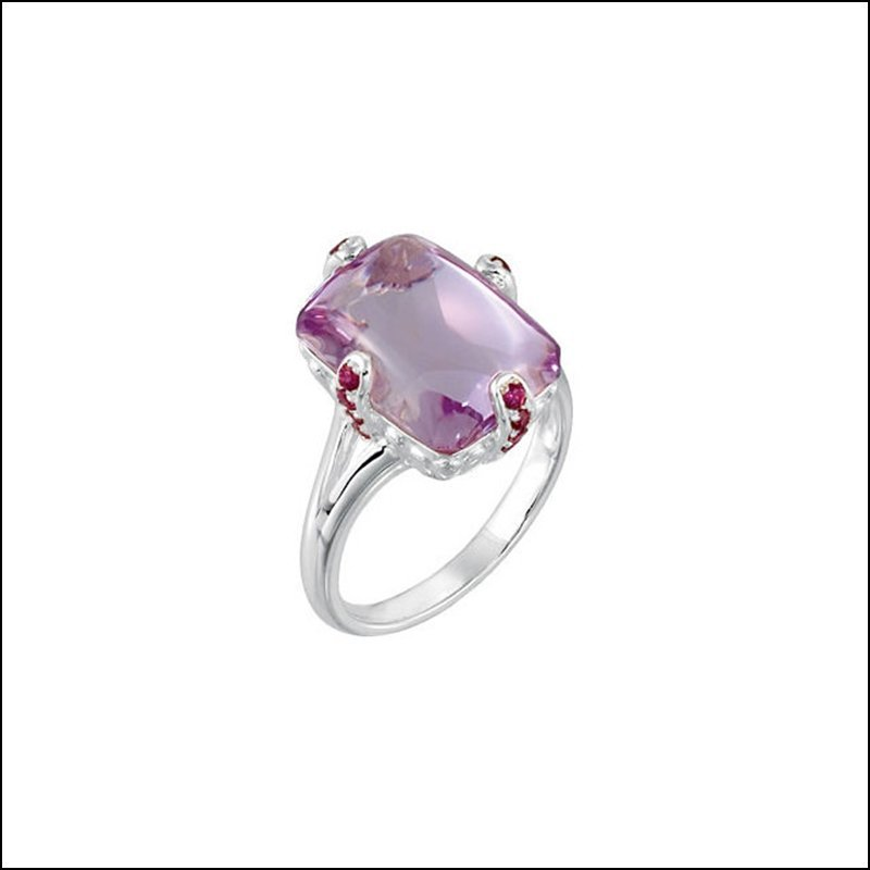 GENUINE ROSE DE FRANCE QUARTZ & BRAZILIAN GARNET RING