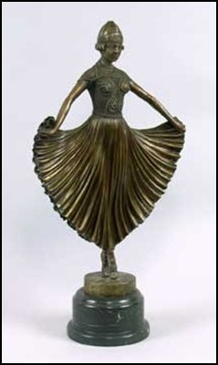 LOST WAX BRONZE DANCER WITH FLARED SKIRT