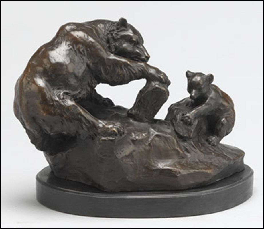 LOST WAX BRONZE MOTHER BEAR AND CUB