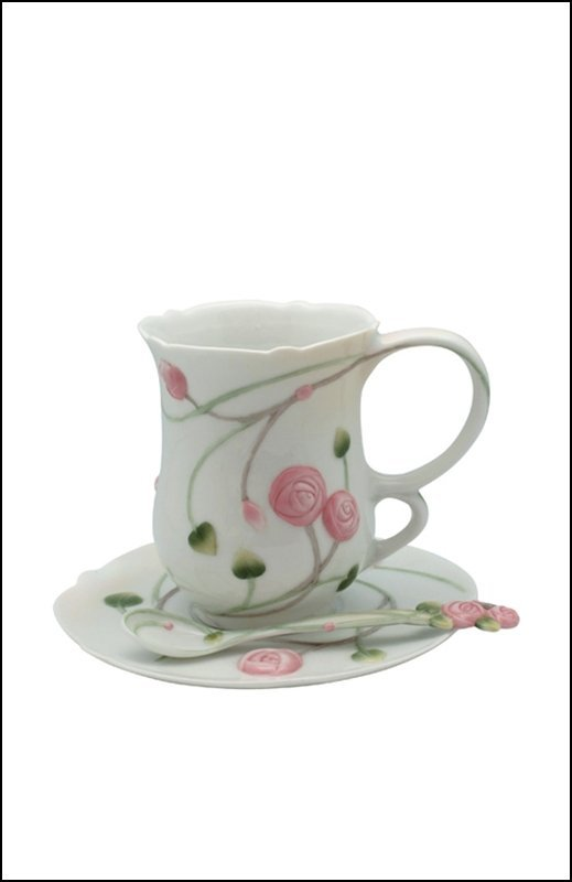 ROSE   COFFEE CUP SET WITH SPOON