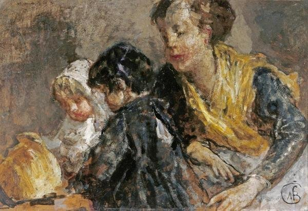 MOSE BIANCHI - A MOTHER AND CHILDREN