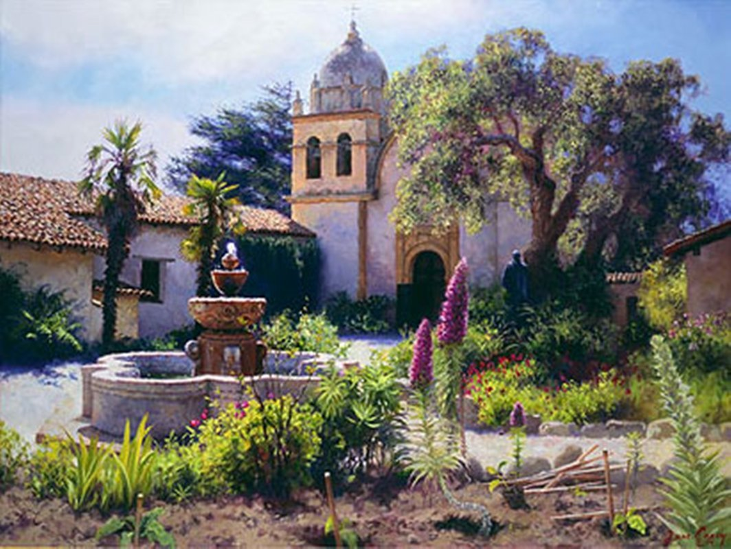 SPRINGTIME IN THE MISSION GARDEN - JUNE CAREY