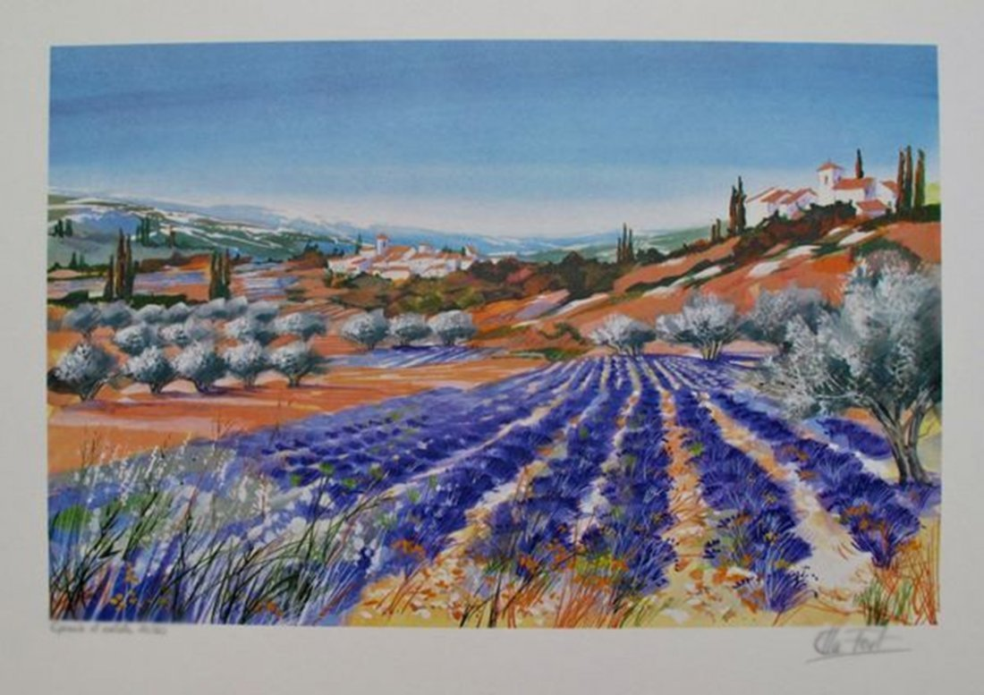 Ella Fort LAVENDER FIELDS II Limited Ed. Hand Signed