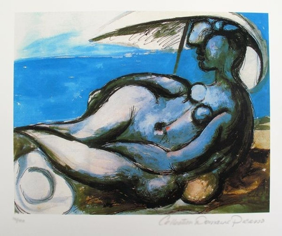 Pablo Picasso RECLINING NUDE AT BEACH Estate Signed