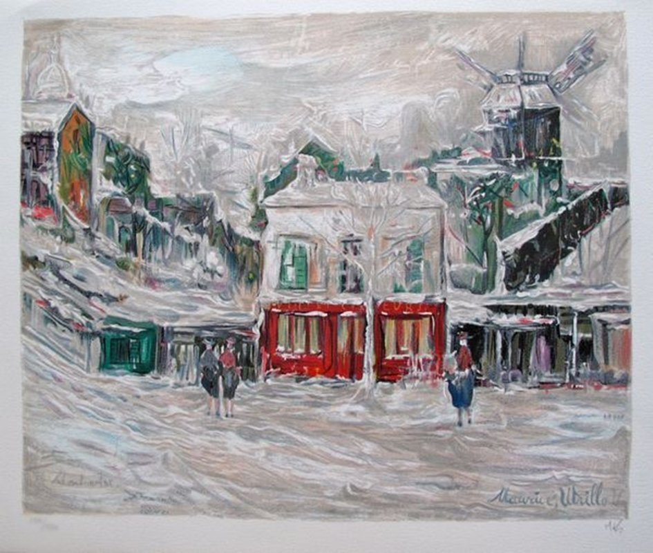 Maurice Utrillo WINTER IN MONTMARTE Hand Signed Limited
