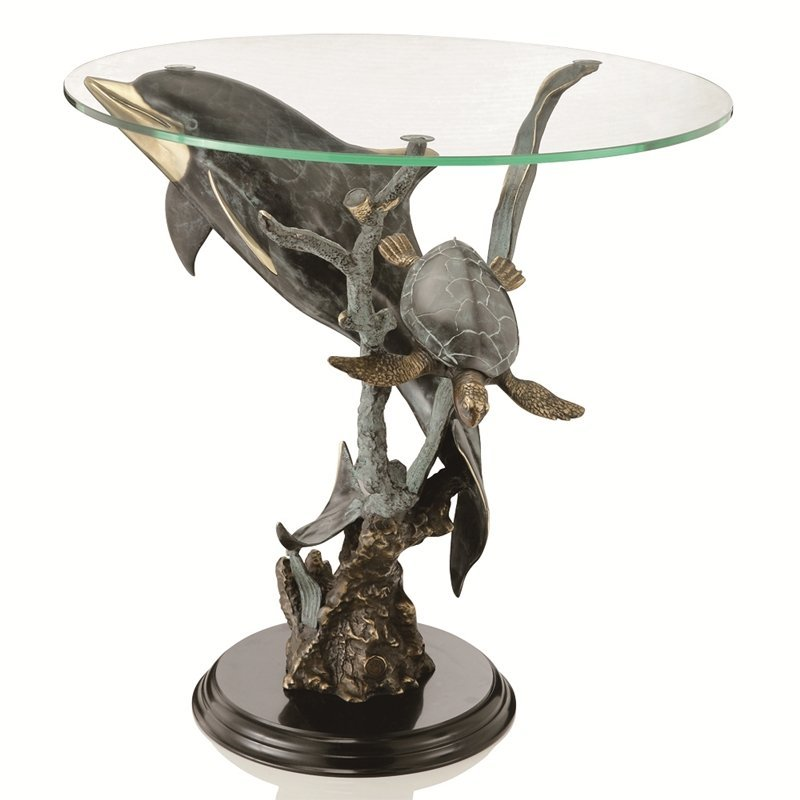SEALIFE TABLE - Brass Marble & Glass