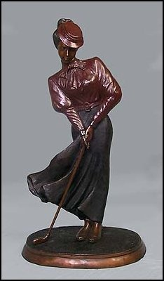 LOST WAX BRONZE LADY GOLFER (PC)