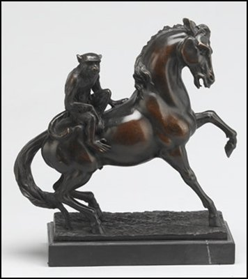 LOST WAX BRONZE MONKEY ON HORSE