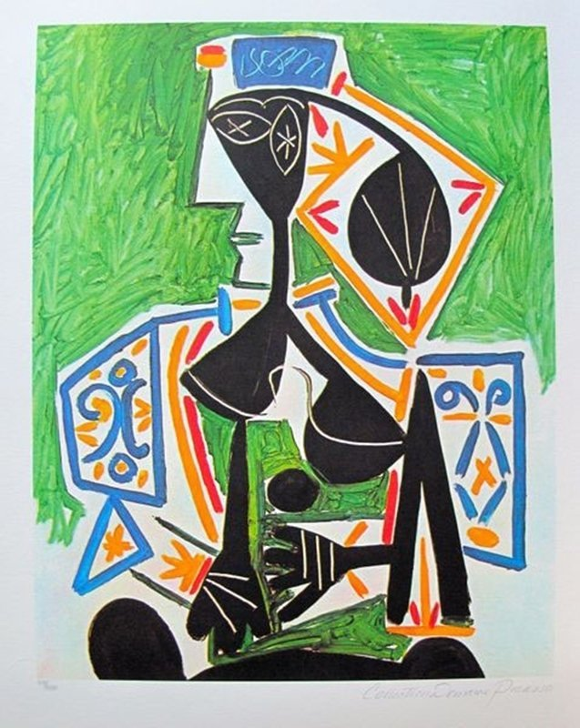 #27 WOMAN IN GREEN Picasso Estate Signed Giclée