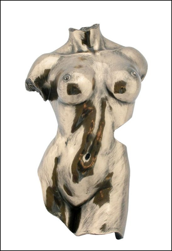 WALL PLAQUE FEMALE TORSO - BRONZE