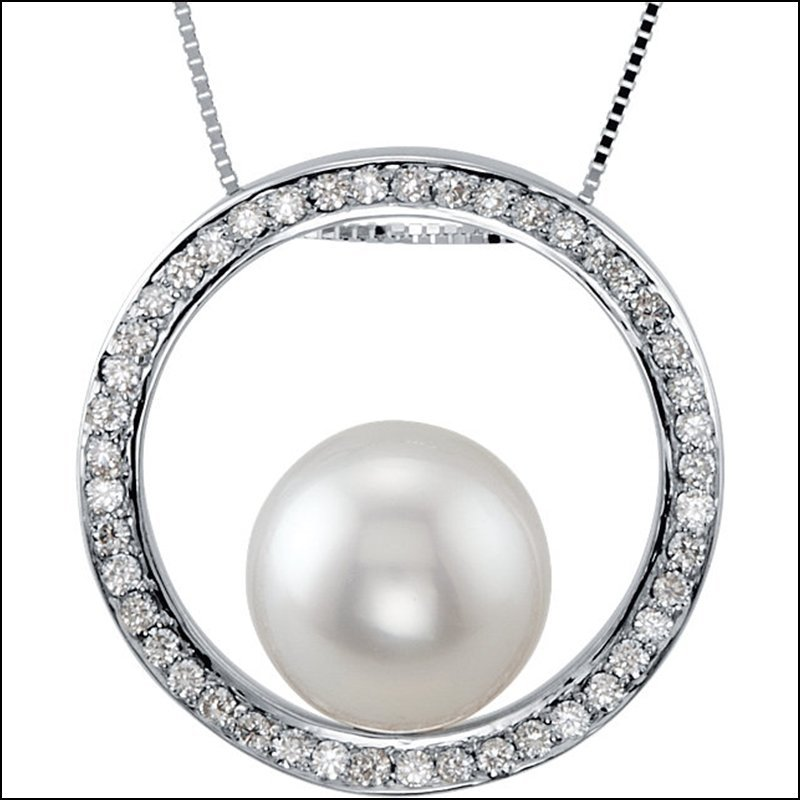 SOUTH SEA CULTURED PEARL & 1/2 CT TW DIAMOND NECKLACE