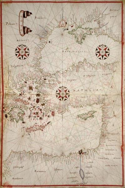JOAN OLIVA - PORTOLAN MAP OF TURKEY, MEDITERRANEAN,