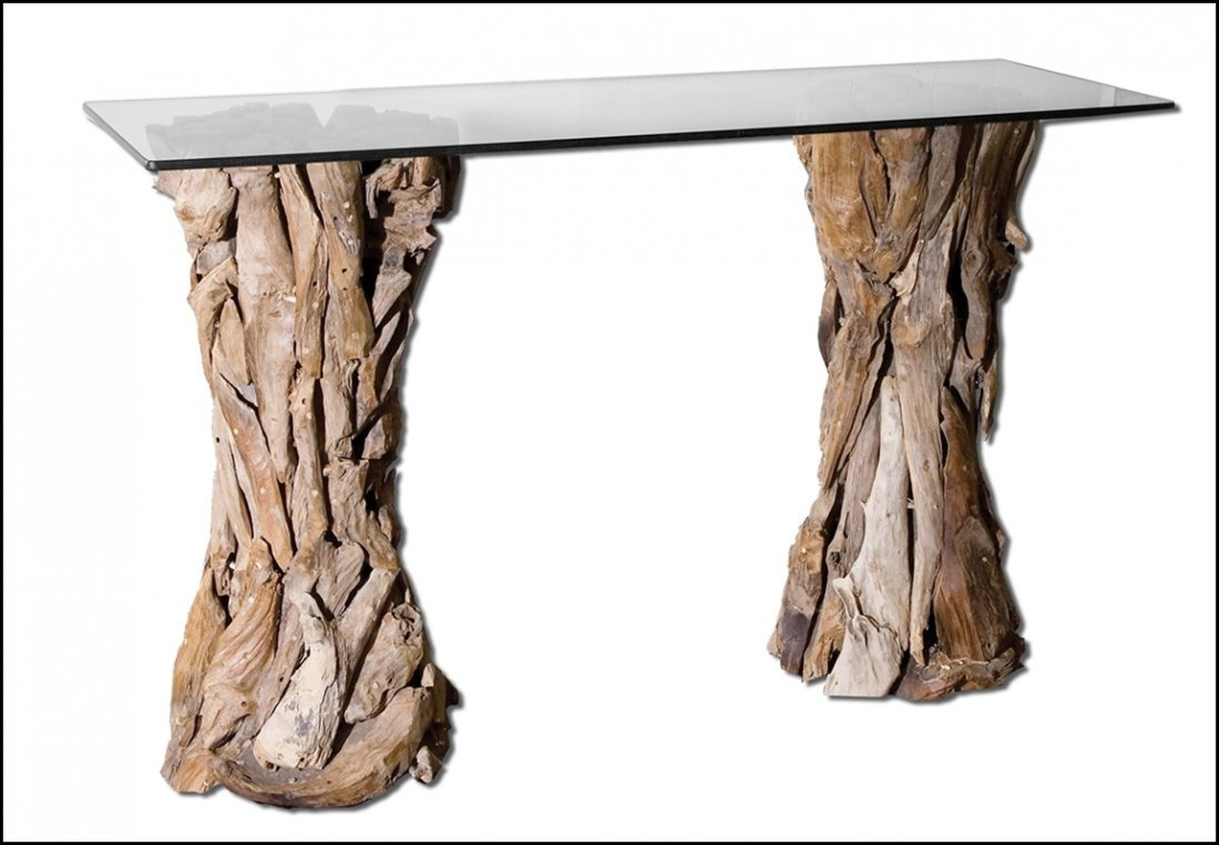 TEAK ROOT GLASS TOP CONSOLE TABLE