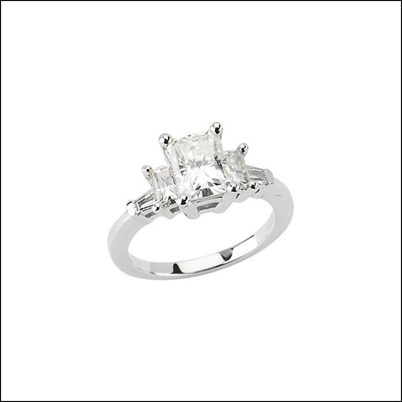 CREATED MOISSANITE AND DIAMOND ENGAGEMENT RING
