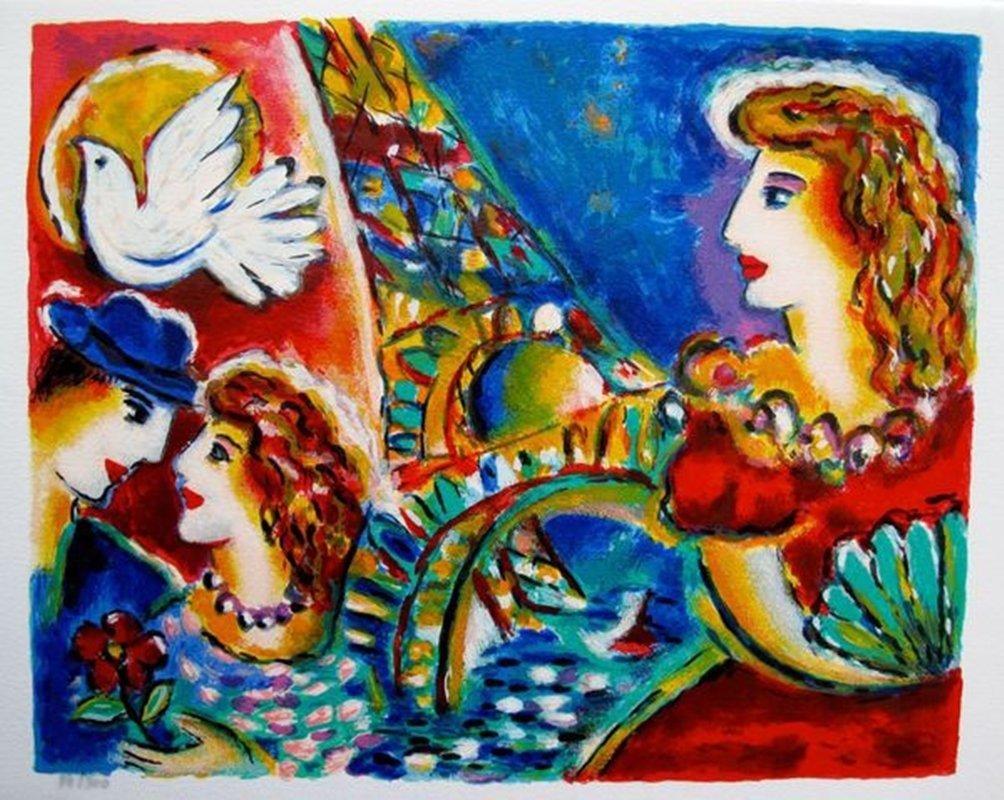 Zamy Steynovitz LOVE IN PARIS Limited Ed. Serigraph