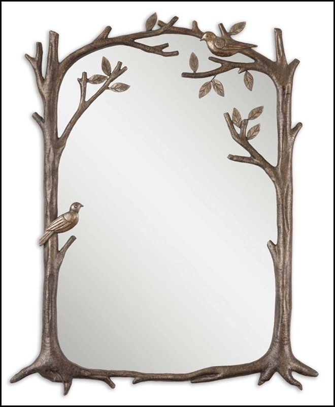 PERCHING BIRDS SMALL DECORATIVE MIRROR